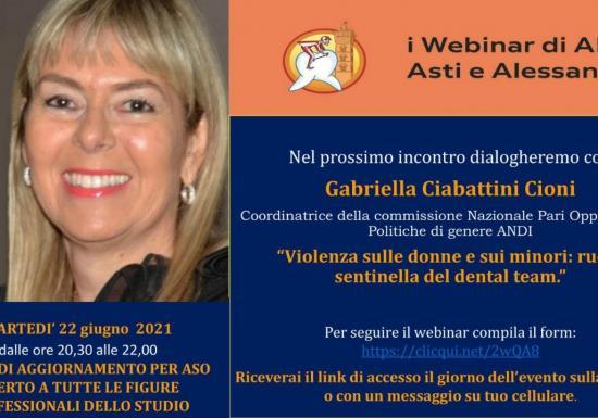 """Webinar 22-06-2021: """"Violenza sulle donne e sui minori: ruolo sentinella del dental team"""""""